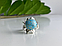 Серебряное кольцо с камнем ларимар   Небо, фото 4