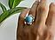 Серебряное кольцо с камнем ларимар   Небо, фото 8