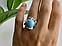 Серебряное кольцо с камнем ларимар   Небо, фото 9