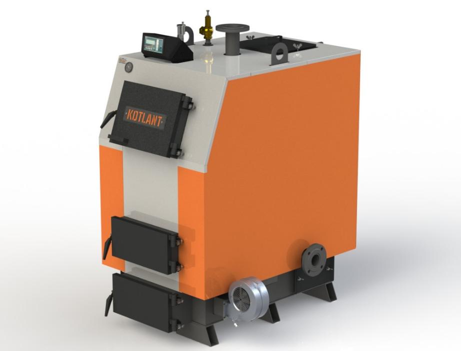 Твердотопливный котел длительного горения Kotlant КВ 65 кВт с электронной автоматикой и вентилятором