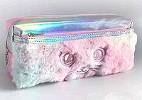 """Пенал косметичка YM8228 """"Розовый Кот"""", 20х5,5х9см 2отдела мягкий полиэстер"""