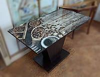 Стеклянный стол на ДСП опоре с кофейным принтом