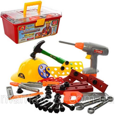 Іграшковий Набір інструментів у валізі 2056 Дриль, каска, пила, молоток, викрутка 48 деталей