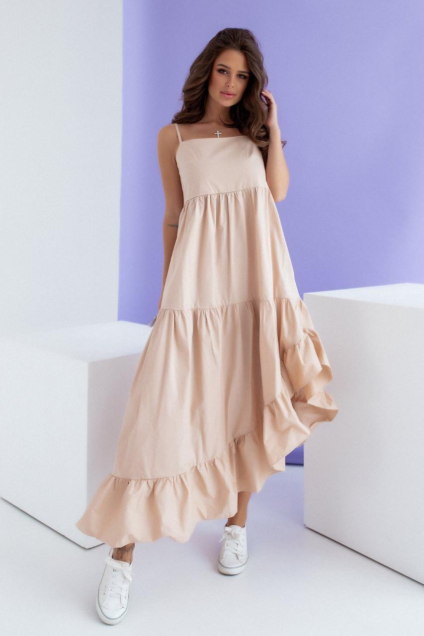 Красиве довге літнє плаття Беж