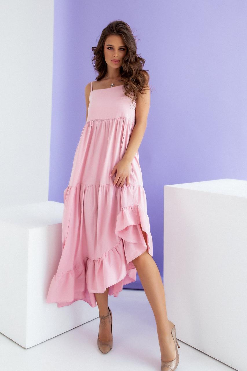 Красивое летнее длинное платье Пудра