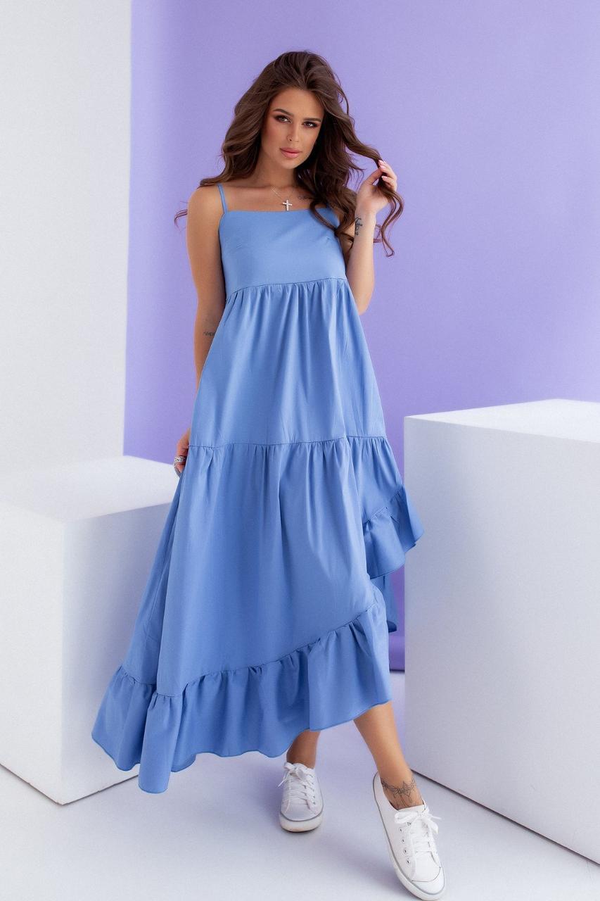 Красивое летнее длинное платье Голубой