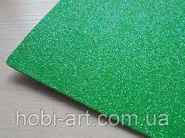 А4 Фоаміран з глітером № 14 зелений