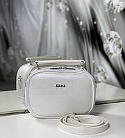 Женская сумка через плечо белая перламутровая маленькая сумочка чемоданчик кожзам, фото 1