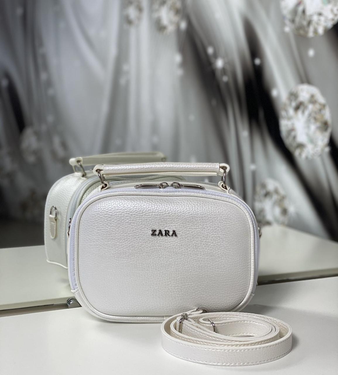 Женская сумка через плечо белая перламутровая маленькая сумочка чемоданчик кожзам
