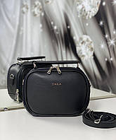 Женская сумка через плечо черная маленькая сумочка чемоданчик клатч кожзам, фото 1