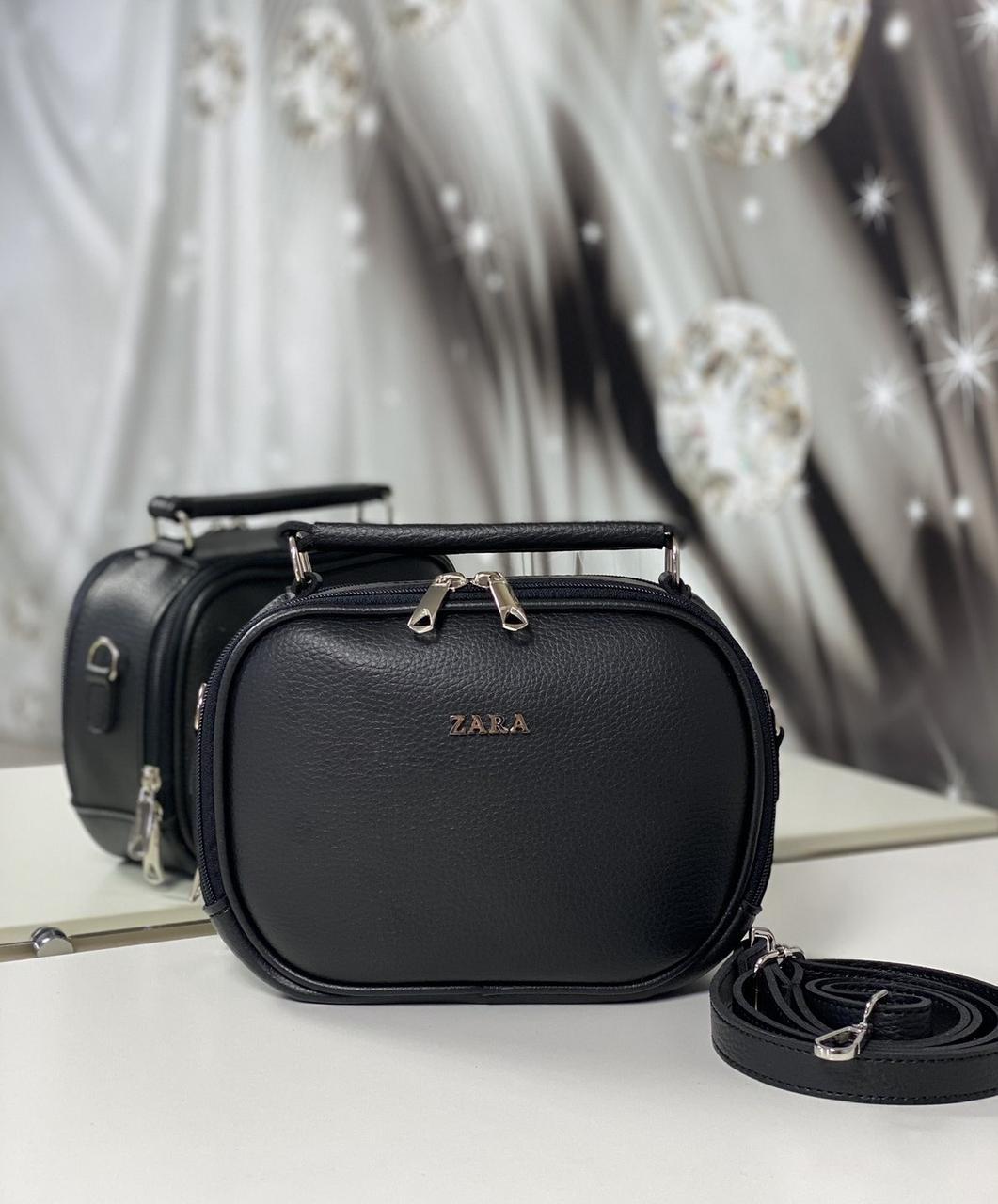 Женская сумка через плечо черная маленькая сумочка чемоданчик клатч кожзам