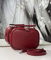 Женская сумка через плечо красная маленькая сумочка чемоданчик клатч кожзам, фото 1