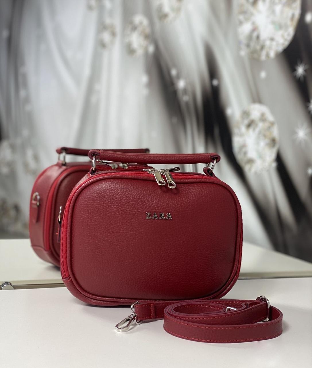 Женская сумка через плечо красная маленькая сумочка чемоданчик клатч кожзам