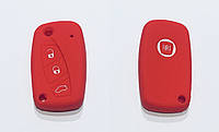 Силиконовый чехол на ключ 3 кнопки Fiat Ducato красный