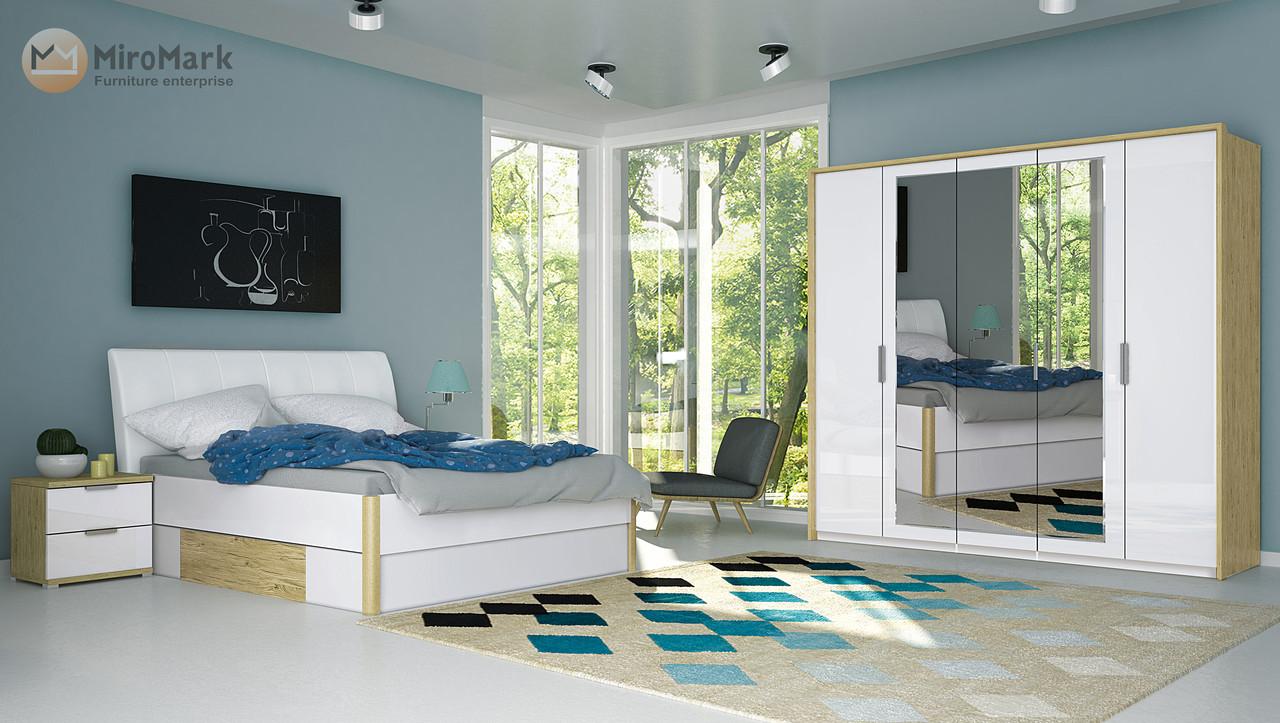 Спальня Флоренция 4 дв Белый Глянец-Дуб Сан Марино ТМ Миро-Марк