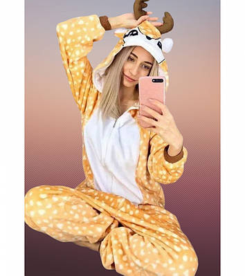 Пижама кигуруми - Олененок Бэмби (на молнии) - Пижама Premium Velsoft