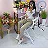 Кресло визажиста из натурального ясеня белого цвета с серой тканью, фото 7