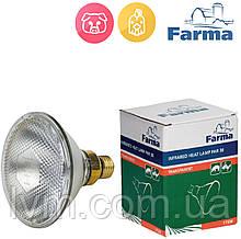 Лампа инфракрасная PAR 175Вт белая, для обогрева животных и птиц FARMA (Польша) ОРИГИНАЛ !