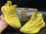 🔥 Кроссовки женские повседневные Adidas Yeezy 350 Yellow (адидас изи 350 желтые) рефлективные шнурки, фото 3