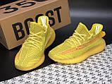 🔥 Кроссовки женские повседневные Adidas Yeezy 350 Yellow (адидас изи 350 желтые) рефлективные шнурки, фото 5
