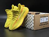 🔥 Кроссовки женские повседневные Adidas Yeezy 350 Yellow (адидас изи 350 желтые) рефлективные шнурки, фото 6