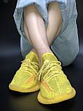 🔥 Кроссовки женские повседневные Adidas Yeezy 350 Yellow (адидас изи 350 желтые) рефлективные шнурки, фото 9