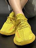 🔥 Кроссовки женские повседневные Adidas Yeezy 350 Yellow (адидас изи 350 желтые) рефлективные шнурки, фото 10