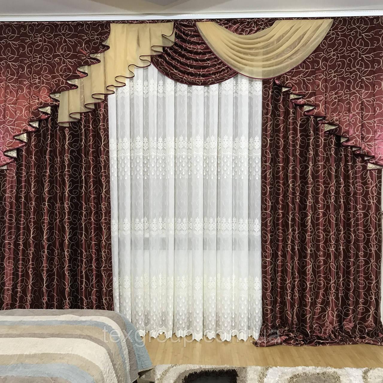 Комплект готовых штор с ламбрекеном №390