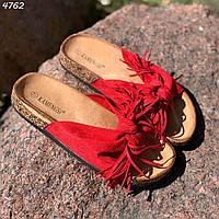 39 р. Шлепки шлепанцы женские красные замшевые на низком ходу плоской подошве из искусственной замши, фото 1