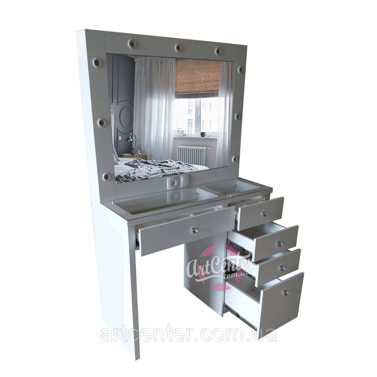Стол для макияжа с открывающимся зеркалом, витриной в столешнице и ящиками с отсеками