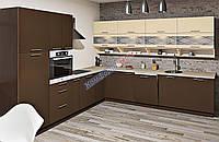 Большая угловая кухня Еко под заказ бежево-коричневая