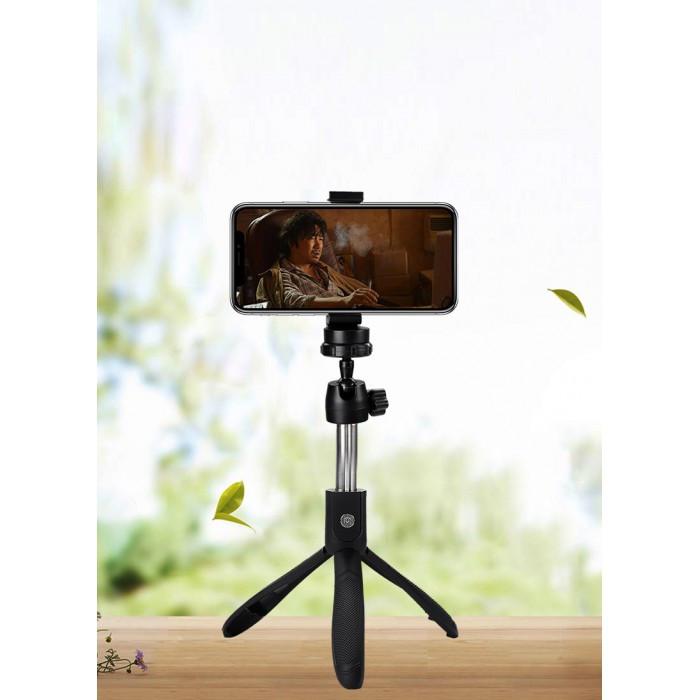 Селфи палка штатив тренога для телефона Bluetooth с пультом Selfie Stick K05 Чёрный