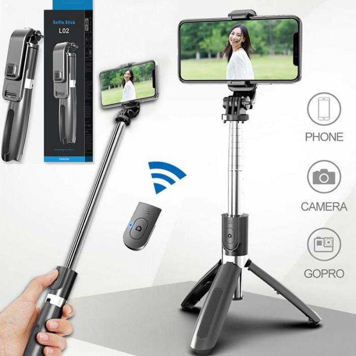 Селфи палка штатив тренога для телефона Bluetooth с пультом Selfie Stick L02 Чёрный