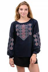 Жіноча блузка-вишиванка темно-синя