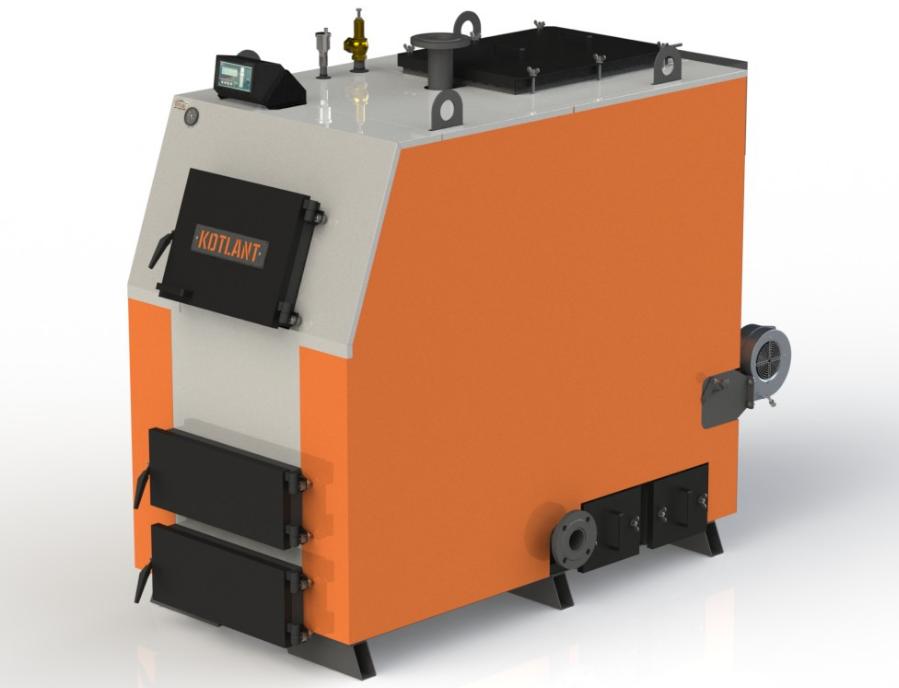 Промисловий котел на твердому паливі Kotlant КВ 125 кВт з електронною автоматикою та вентилятором