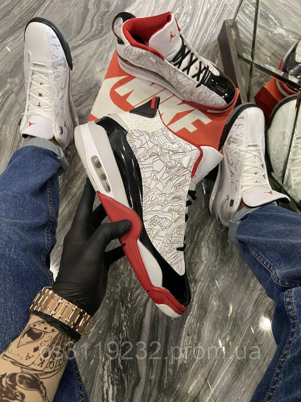 Мужские кроссовки Nike Air Jordan Dub Zero OG White Black Red (белый/красный/черный)