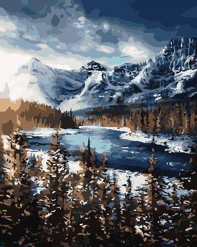 Картина по номерам AS0705 Гори взимку, 40x50 см., ArtStory