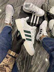 Мужские кроссовки Adidas Forum White Green (белые)