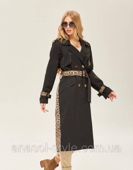 Тренч женский больших размеров английский воротник принт леопард черный