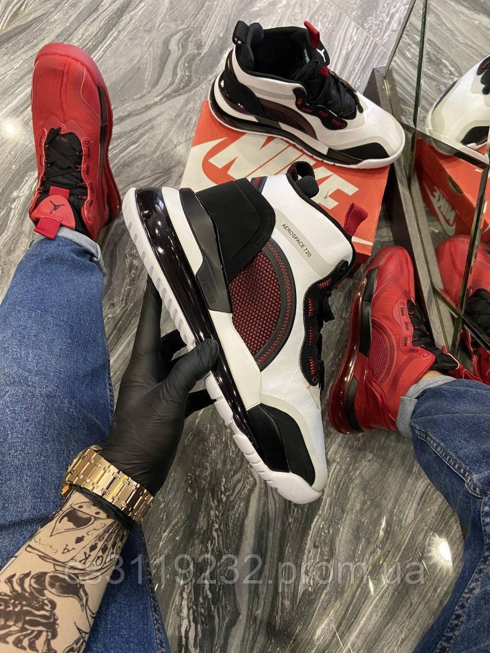 Мужские кроссовки Nike Jordan Air Space 720 Black White (белый/красный/черный)