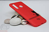 Силиконовый чехол с принтом для Huawei Honor 10i красный