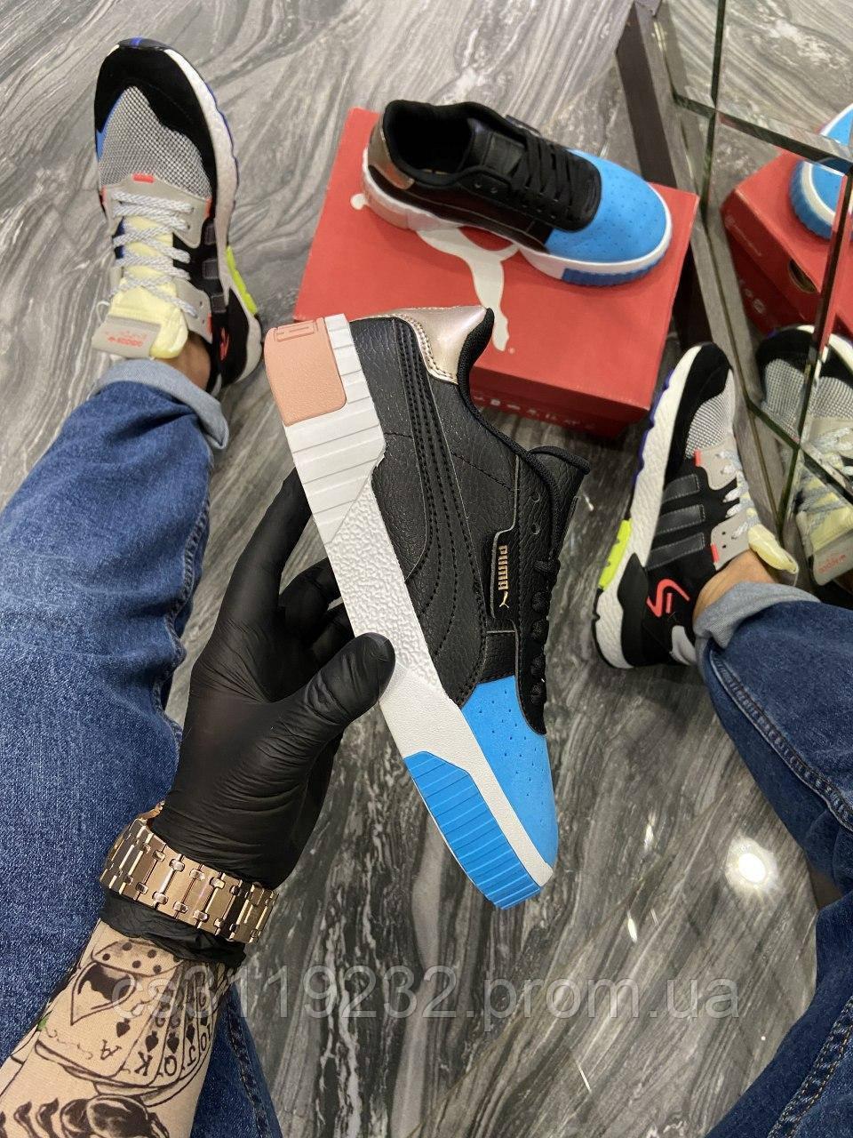 Женские кроссовки Puma Cali Black Blue White (черно-голубые)