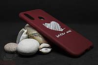 Силиконовый чехол с принтом для Huawei P20 Lite темно-красный