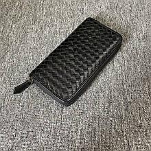 Большой кошелек плетенная структура на молнии в стиле Ботега / натуральная кожа #10240 Черный