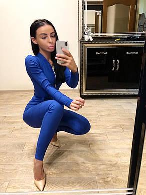 Комбинезон женский из джинса на молнии с поясом электрик  М, фото 2