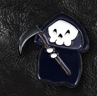 Хеллоувин скелет смерть в плаще с косой пин значок металл фильм  ужасы