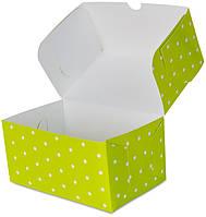 """Бокс одноразовый для десертов 18х12х8 см., 100 шт/уп бумажный, зеленый """"Зеленый горошек"""""""