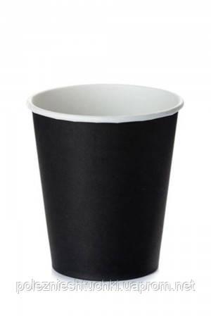 Стакан бумажный 1РЕ одностенный черный 175мл (7oz) Ǿ=69мм, h=83мм