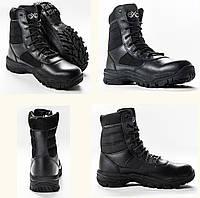 Ботинки тактические Великобритания. Берцы EXC Trooper 8.0. Профессиональные военные и полицейские сапоги. Черные с вставками