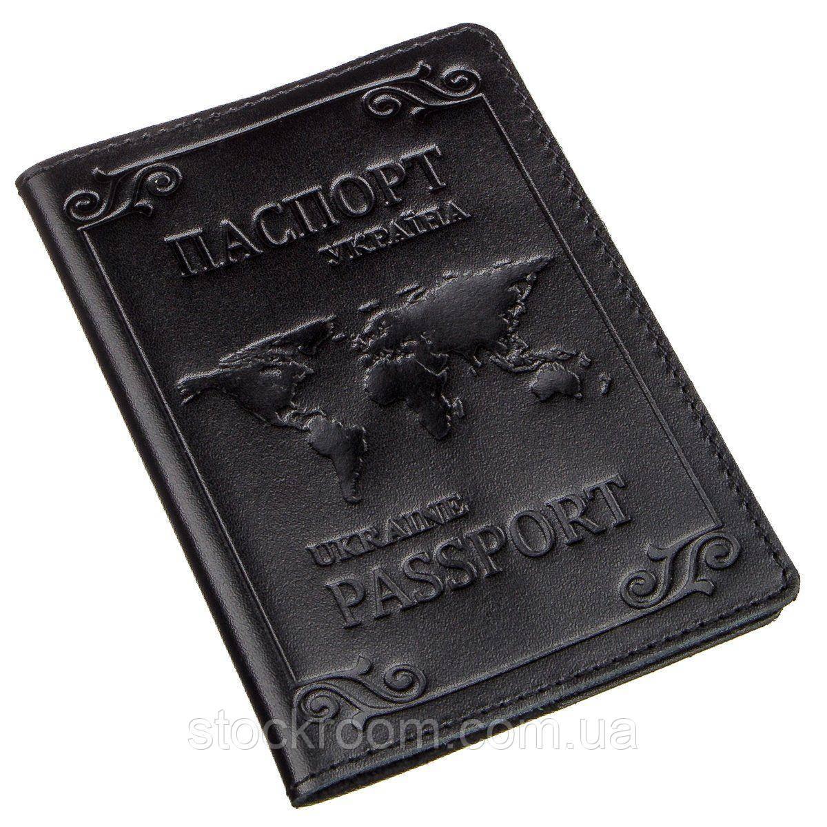 Шкіряна обкладинка на паспорт з картою і рамкою SHVIGEL 13982 Чорна